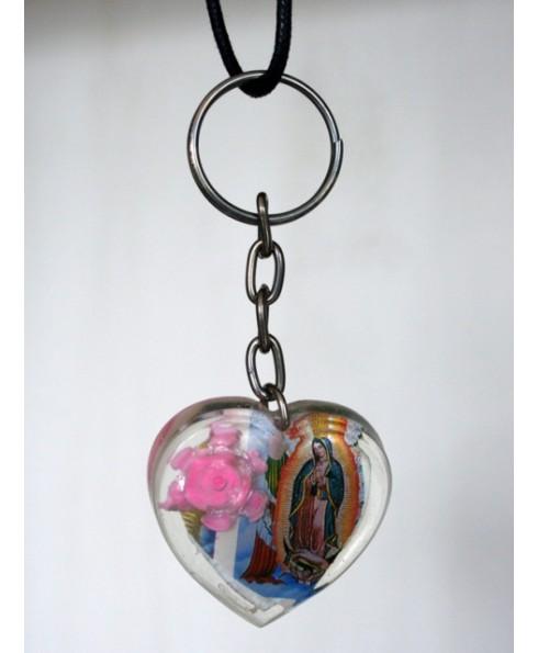 Religieuze mexicaanse sleutelhanger, rose.