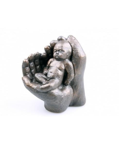 Baby in handen, groot