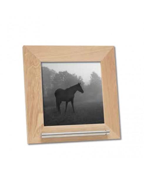 Fotolijst huisdier, hout/naturel met as voorziening.