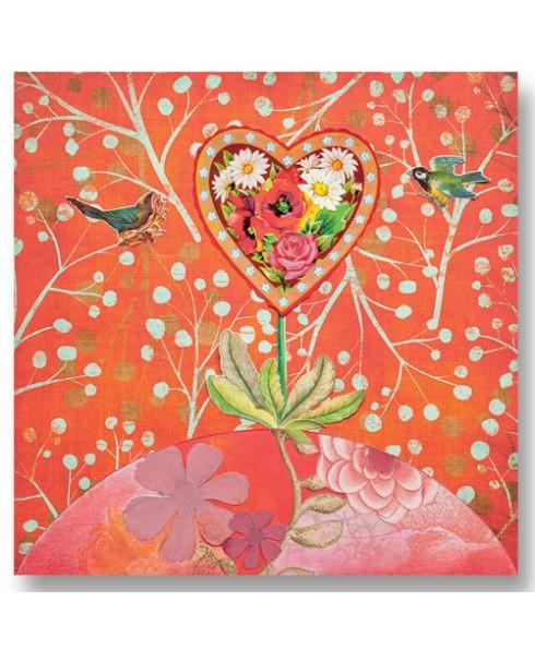 Heart birds wenskaart