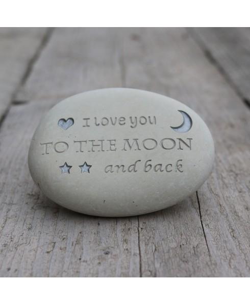 Love you moon gravure steen