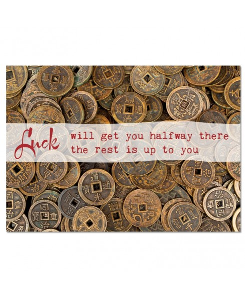 Postkaart: Luck will get you halfway there, the rest is up to you