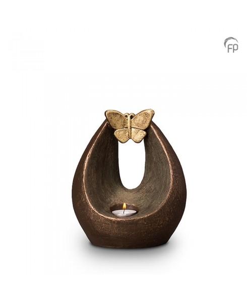Verlichte vlinder brons urn