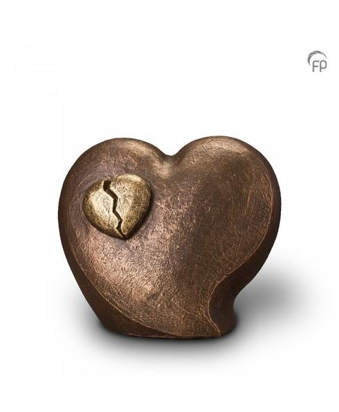 Gebroken hart brons urn