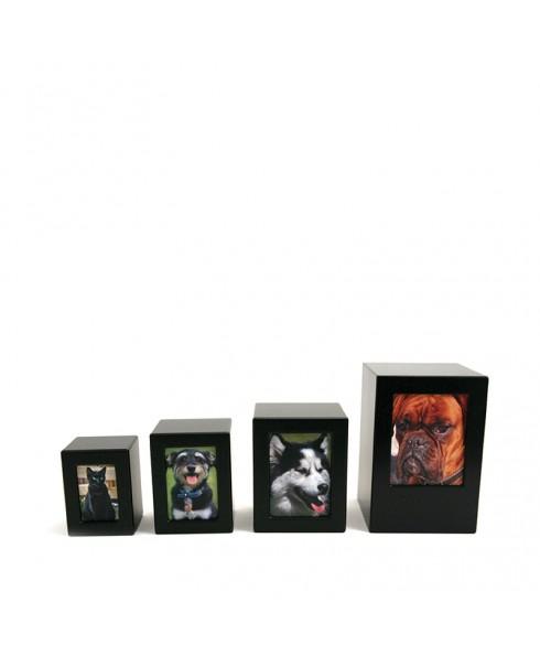 Kubus foto urn huisdier zwart