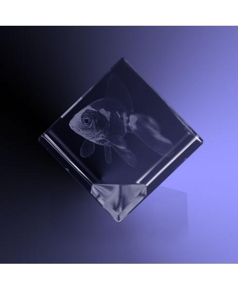 Huisdier 3d in kristal kubus
