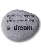 Tekst steen 'droom'.