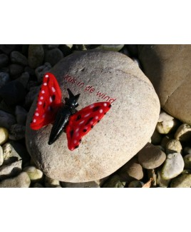 Tekststeen, zwerfkei met rode vlinder.