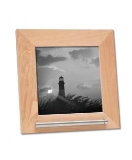 Fotolijst, hout/naturel met as voorziening.