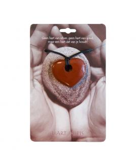 Doorboord hart Jaspis ketting