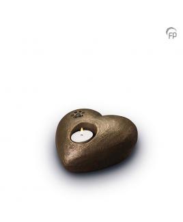 Hart met waxinelicht brons