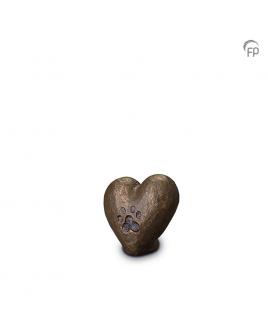 Hart met hondenpootafdruk brons