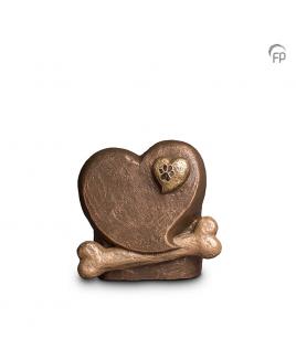 Hart met hondenbot brons